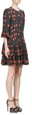 Alexander McQueen Asymmetrical Ruffled Trapeze Dress