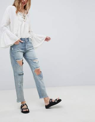One Teaspoon Awesome Baggies High Waisted Straight Leg jeans with Rips