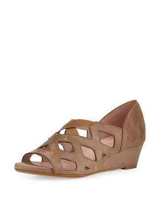 Taryn Rose Soukey Strappy Suede Low-Wedge Sandal, Quinoa $249 thestylecure.com