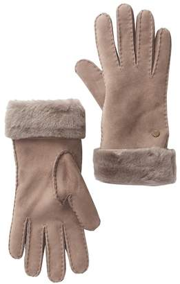 UGG Genuine Sheepskin Suede Turn Cuff Gloves