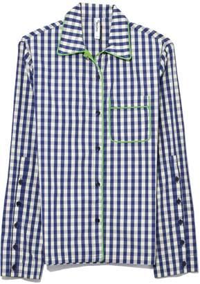 Adam Selman PJ Shirt in Mint/Navy Gingham
