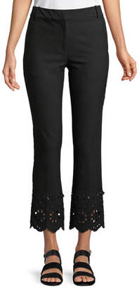 Derek Lam 10 Crosby Cropped Flare Stretch-Cotton Trouser with Eyelet Embroidery