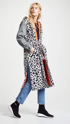 Koche Leopard Combo Hoodie Coat