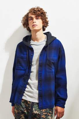 Urban Outfitters Plaid Flannel Hooded Button-Down Shirt