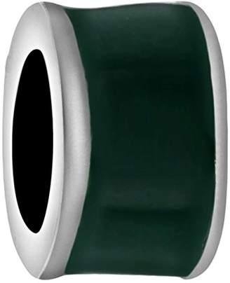 Tuscany Charms Sterling Silver Green Enamel Barrel Bead