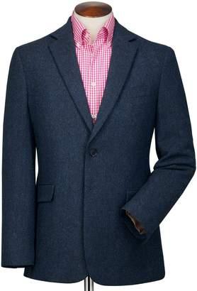 Charles Tyrwhitt Slim Fit Blue Herringbone Wool Wool Jacket Size 44