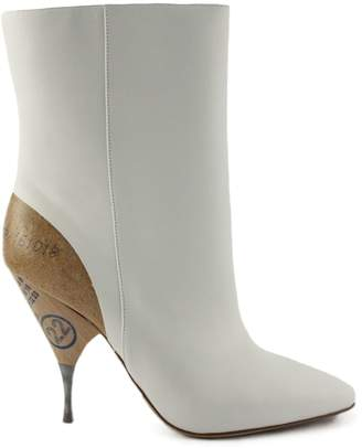 Maison Margiela White Leather Ankle Boots