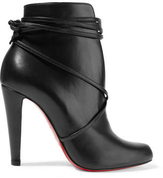 Christian Louboutin - S.i.t. Rain 100 Leather Ankle Boots - Black $1,095 thestylecure.com