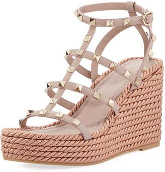 Valentino Rockstud Caged Wedge Sandals