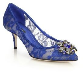 Dolce & Gabbana Embellished Lace Point Toe Pumps $895 thestylecure.com