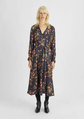 Isabel Marant Olympia Floral Print Silk Dress Black
