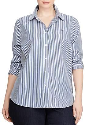 Lauren Ralph Lauren Plus Pinstriped No-Iron Shirt