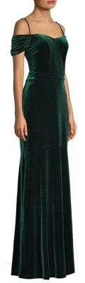 Laundry by Shelli Segal Velvet Cold-Shoulder Gown