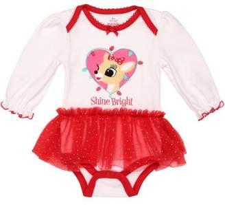 Rudolph Newborn Baby Girl Shine Bright Ruffled Bodysuit