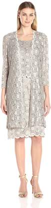 R & M Richards R&M Richards Women's Scalloped Lace Dress with Long Jacket
