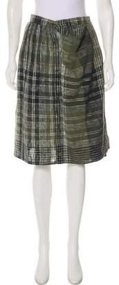 Issey Miyake Plaid Knee-Length Skirt
