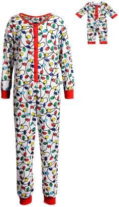 Dollie & Me Girls 4-14 Christmas Lights Union Suit Onsie Pajamas & Doll Pajamas Set
