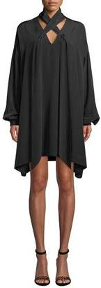 Diane von Furstenberg Jessamine Lace-Up Silk Long-Sleeve Short Dress