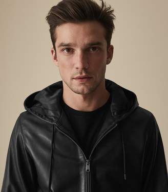 Reiss SHAWFIELD HOODED LEATHER JACKET Black
