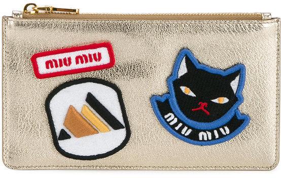 Miu MiuMiu Miu badge embroidered pouch