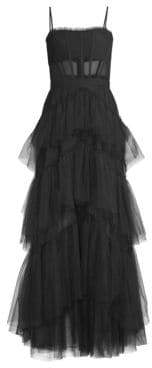 BCBGMAXAZRIA Layered Tulle& Mesh Sleeveless Corset Gown