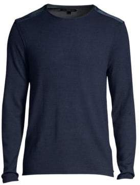John Varvatos Long Sleeve Velvet Shoulder Crewneck Sweater