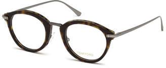 Tom Ford Oval Acetate & Metal Optical Frames, Brown Pattern