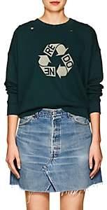 RE/DONE Women's Recycle Logo Distressed Cotton Sweatshirt - Dk. Green