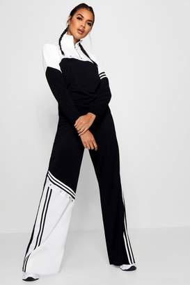 boohoo Sports Stripe Popper Wide Leg Trouser