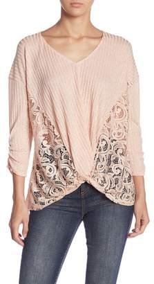 June & Hudson Lace Gathered Hi-Lo Top