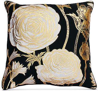 """Thro Wesley Floral Foil 20"""" x 20"""" Printed Faux Linen Decorative Pillow"""