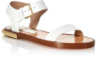 Stuart Weitzman Women's Rosewood Leather Studded Ankle Strap Sandals