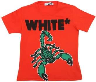 White Scorpion Print Cotton Jersey T-Shirt