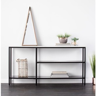 Southern Enterprises Holly & Martin Corman Faux Marble Narrow Console Table, Contemporary Style, Black w/ Gray Faux Marble
