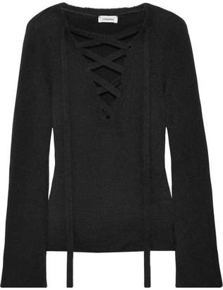 L'Agence Candela Lace-up Knitted Sweater - Black