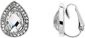 Monet Glass Crystal Teardrop Clip On Stud Earrings