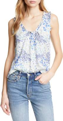 Rebecca Taylor Floral Shirred Silk Tank Top