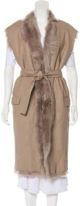 Hotel Particulier Shearling Belted Vest w/ Tags