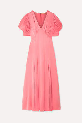 Michael Kors Crinkled-satin Midi Dress - Antique rose