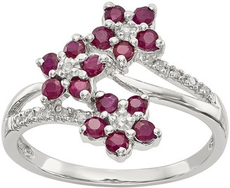 Sterling Flower Gemstone and Diamond Ring