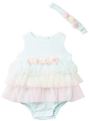 Little Me Aqua Tier Popover Romper & Headband Set (Baby Girls)