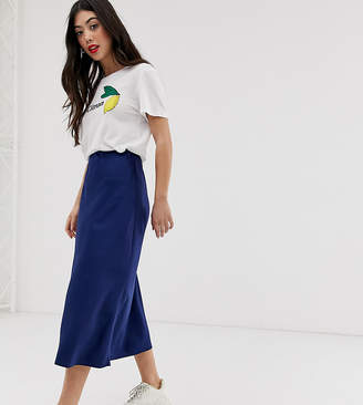 New Look Petite satin midi skirt in navy