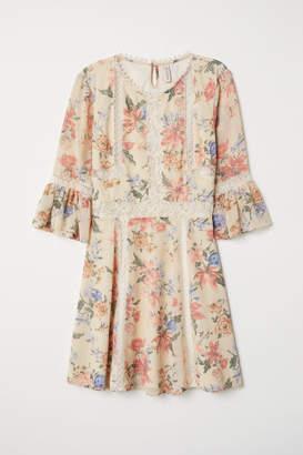H&M Chiffon Dress with Lace - White