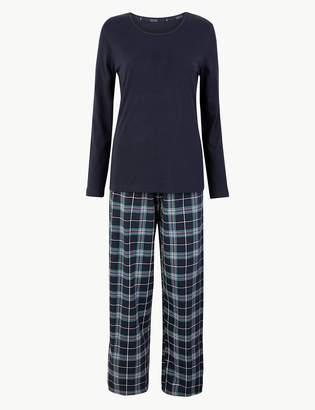 Marks and Spencer Check Print Cotton Pyjama Set
