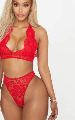 2033478850b PrettyLittleThing Shape Red Lace Thong