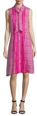 Oscar de la Renta Printed Silk Fit-&-Flare Dress