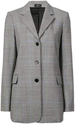 Theory checked buttoned blazer