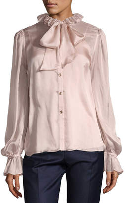 Temperley London Tie-Accented Silk Blouse
