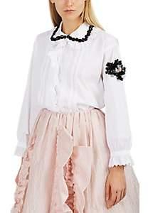 Simone Rocha 4 MONCLER Women's Embellished Cotton Poplin Blouse - White