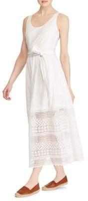 Lauren Ralph Lauren Lace-Trim Poplin Sleeveless Dress